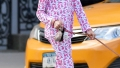 Suri Cruise rabbit printed pink outfit walking dogs New York City