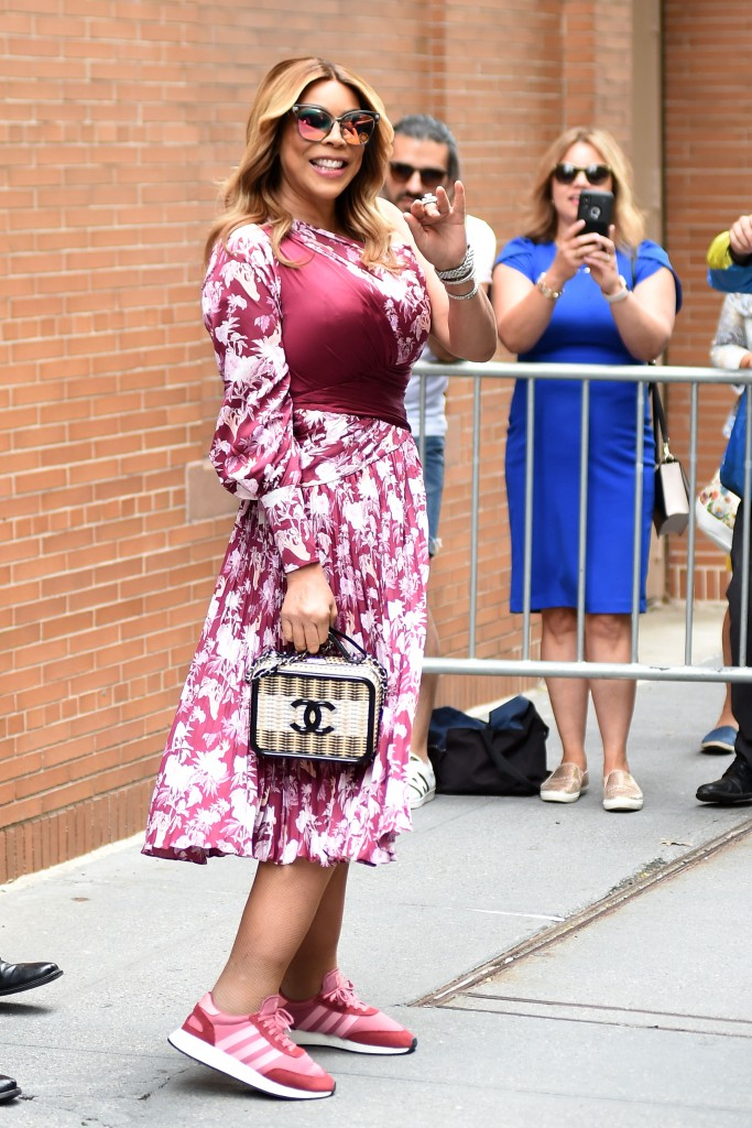 Wendy Williams Wearing a Flower Red Dress While Outside the Studio