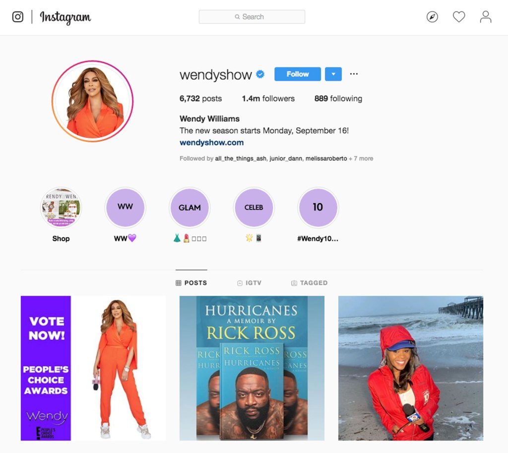 Wendy Williams wipes 'wife' from her Instagram page