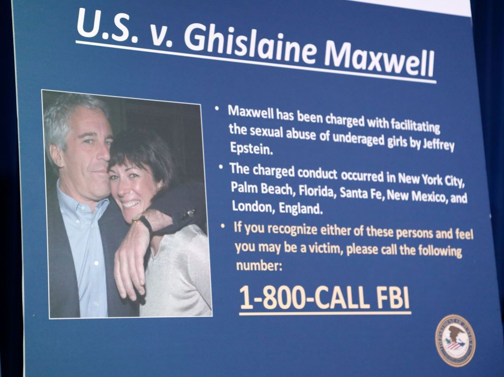 Photo Board With Information About Ghislaine Maxwell and Jeffrey Epstein Used in News Conference