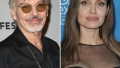 billy bob thornton wears black shirt and glasses at red carpet event, angelina jolie wears sheer black sweetheart neckline dress at red carpet event billy bob thornon angelina jolie still friends