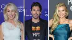 linda thompson wears a white rouched above-the-knee dress, josie canseco wears a teal blue floor length gown, brody jenner wears graphic tee under a blazer with jeans brody jenner's mom linda thompson approves of girlfriend josie canseco