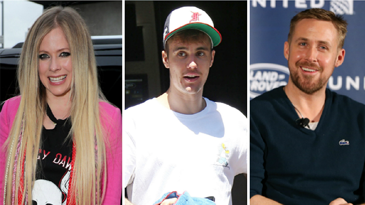 avril lavigne wears pink blazer over black graphic tee, justin bieber wears white and green trucker hat and white t shirt, ryan gosling wears black sweater in a three way photo split is justin bieber related to avril lavigne and ryan gosling