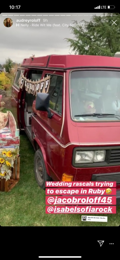 jacob roloff and isabel rock's 1987 westfalia was part of the decor and photo op at their wedding