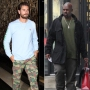 Left, Scott Disick wears a light blue shirt and forest fatigue camouflage pants. Right,Corey Gamble wears a green shirt and black pants.