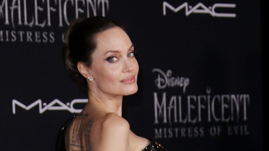 Angelina Jolie Wearing an All Black Dress at Her Movie Premiere
