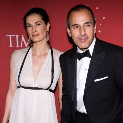 Annette Roque Wearing a Pink Dress With Matt Lauer in a Suit