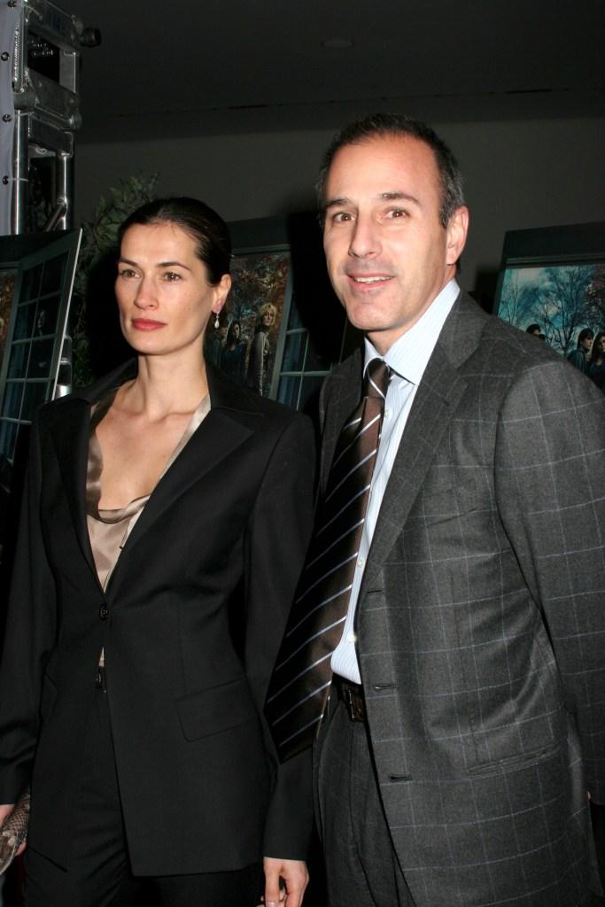 Annette Roque in a Black Suit With Matt Lauer