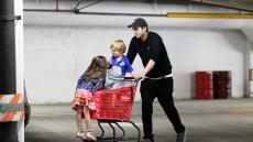 Ashton Kutcher With a Target Shopping Cart With His 2 Kids