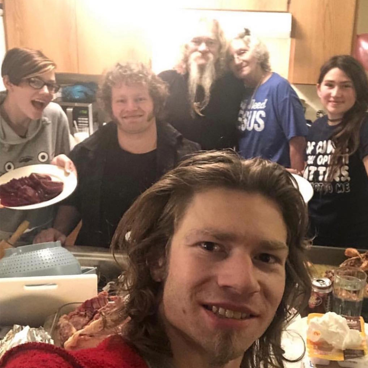 Bear Brown Takes Selfie with Family