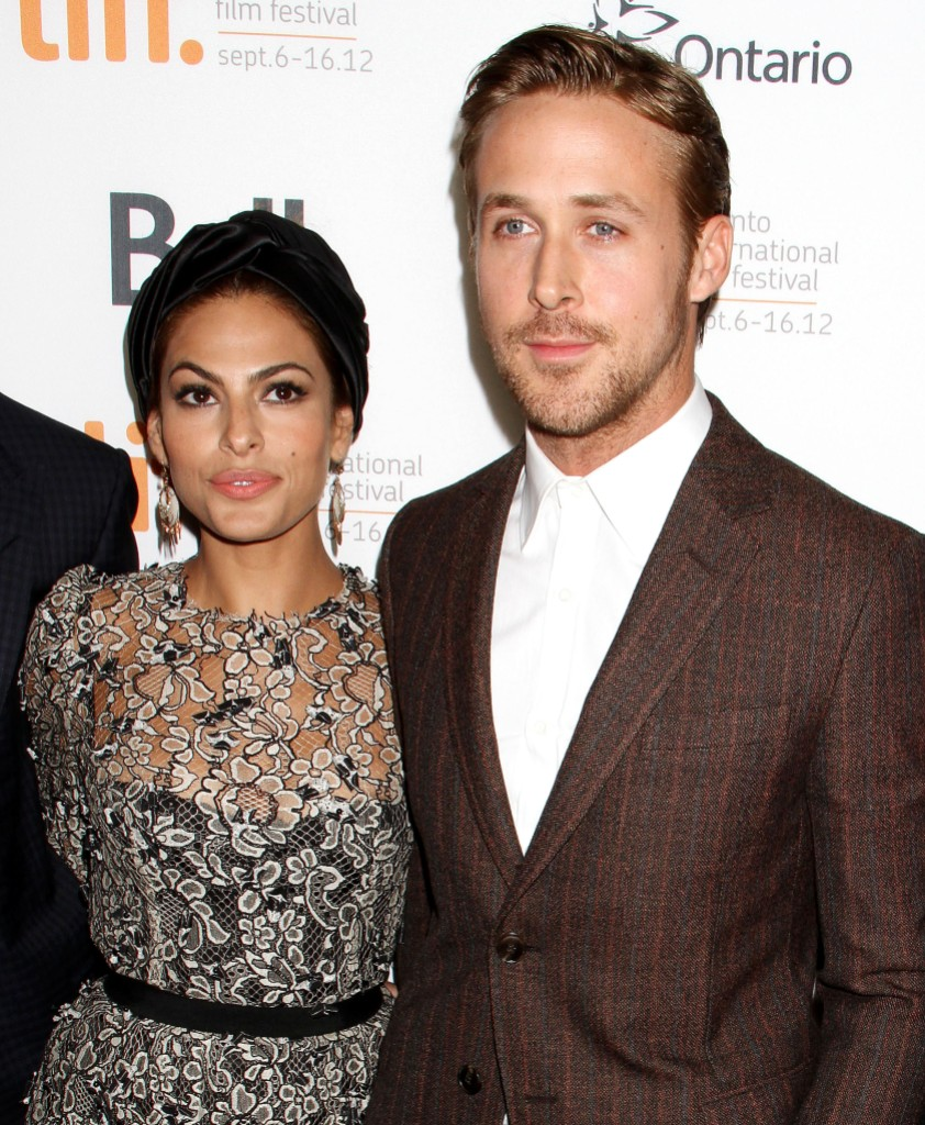 Eva Mendes Wearing a Patterned Dress With Ryan Gosling in a Brown Suit