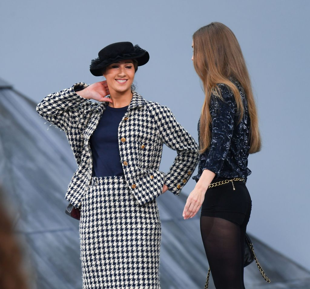 Gigi Hadid Wearing a Blue Outfit with Marie at chanel Show