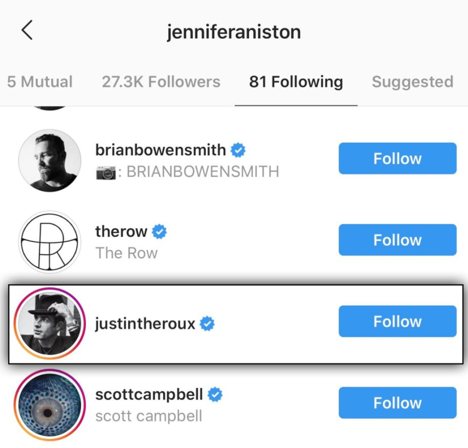 Jennifer Aniston Follows Her Ex-Husband Justin Theroux on Instagram After Joining Social Media