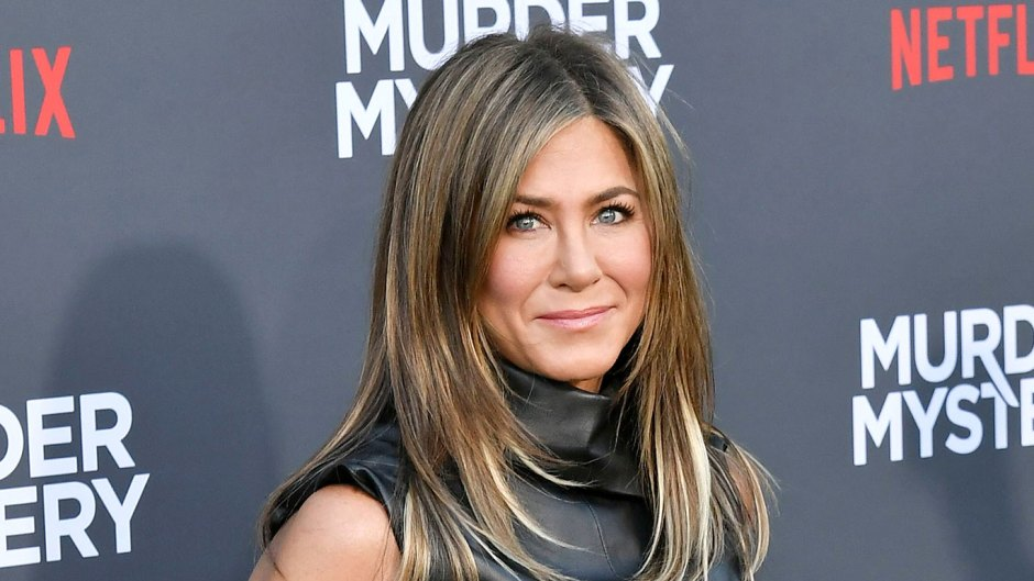 Jennifer Aniston Reveals If She'd Ever Join Social Media B;acl Leather Mini Dress Murder Mystery
