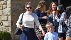 Jennifer Garner Wearing a White Top With a Blue Skirt With Her Son at Church