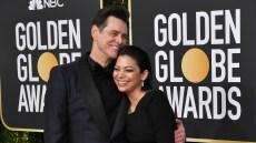 Jim Carrey and Ginger Gonzaga on Golden Globes Red Carpet