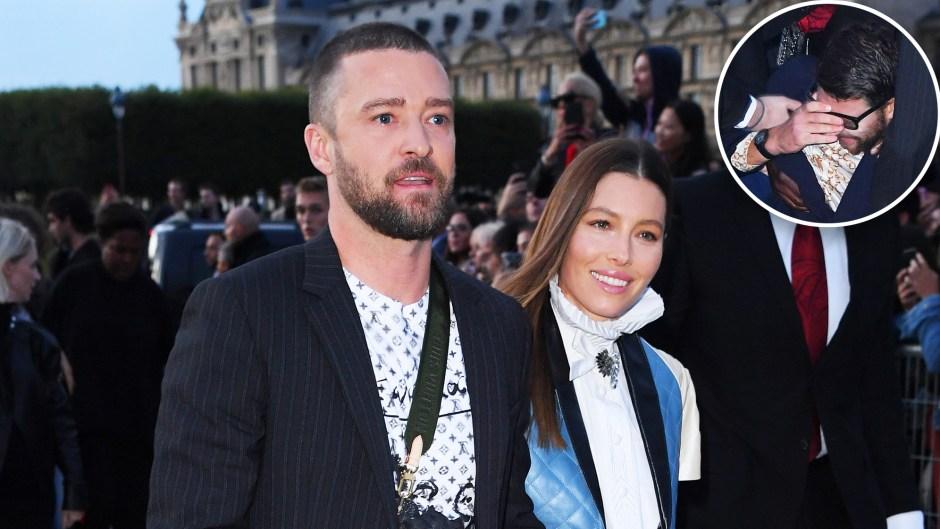 Justin Timberlake Tackled Fan Louis Vuitton Show Jessica Biel