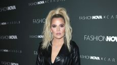 Khloe Kardashian Wearing an All Black Outfit at an Event