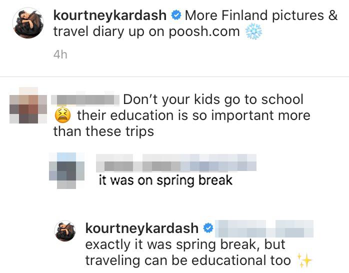 Kourtney Kardashian Claps Back Troll Accuses Her Kids Not Going to School