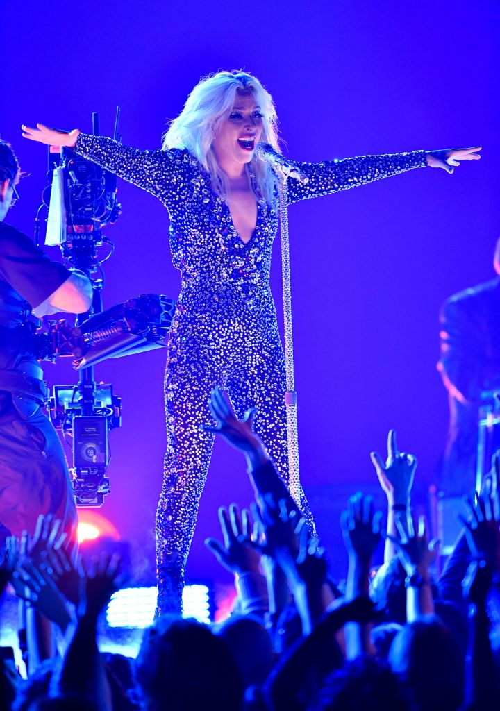 Lady Gaga Wearing a Sparkly Dress on Stage