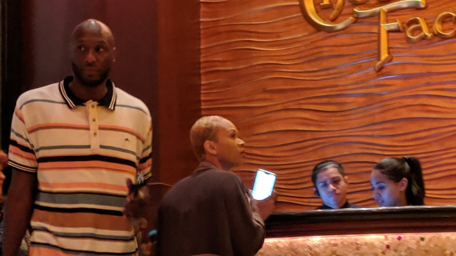 Lamar Odom Wearing a Striped Shirt With Sabrina Parr at Cheesecake Factory