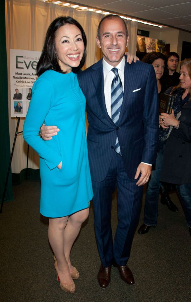 Ann Curry Wearing Blue With Matt Lauer in a Suit