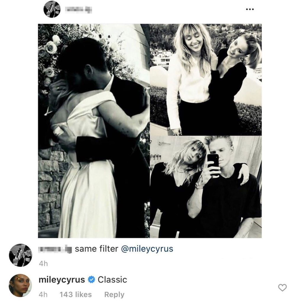 Miley Cyrus Reacts to Photos With Her New Flame Cody and Exes Liam, Kaitlynn: 'Classic'