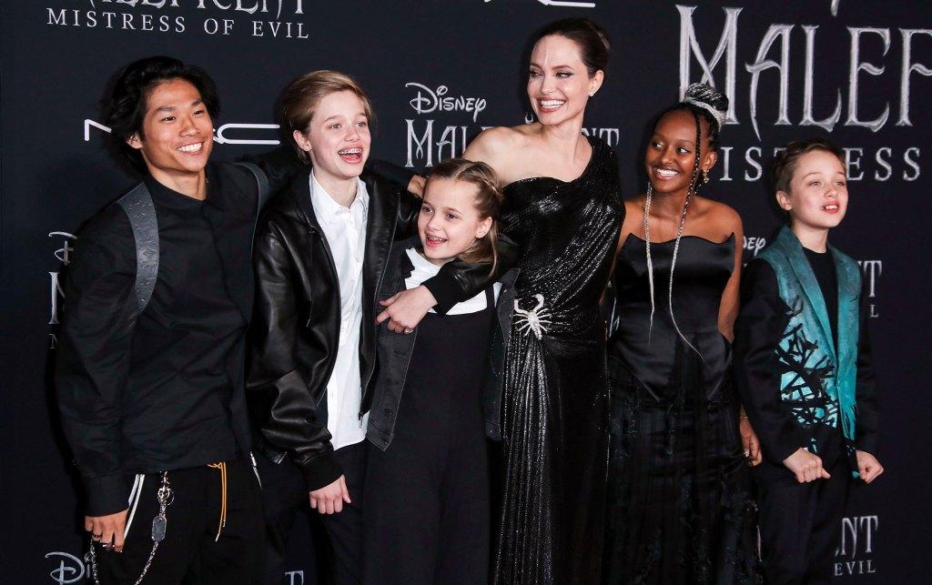 Pax Jolie Pitt, Shiloh Jolie Pitt, Vivienne Jolie Pitt, Angelina Jolie, Zahara Jolie Pitt and Knox Jolie Pitt Maleficent Mistress of Evil Film Premiere