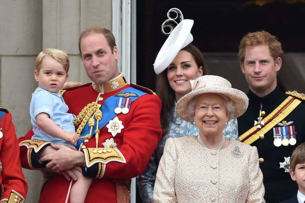 Queen Elizabeth Smiles with Harry, Will, Kate and George
