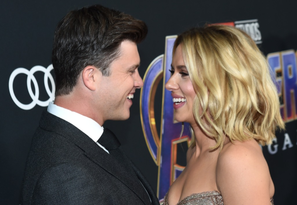 Scarlett Johansson Wearing a Sparkly Dress With Colin Jost