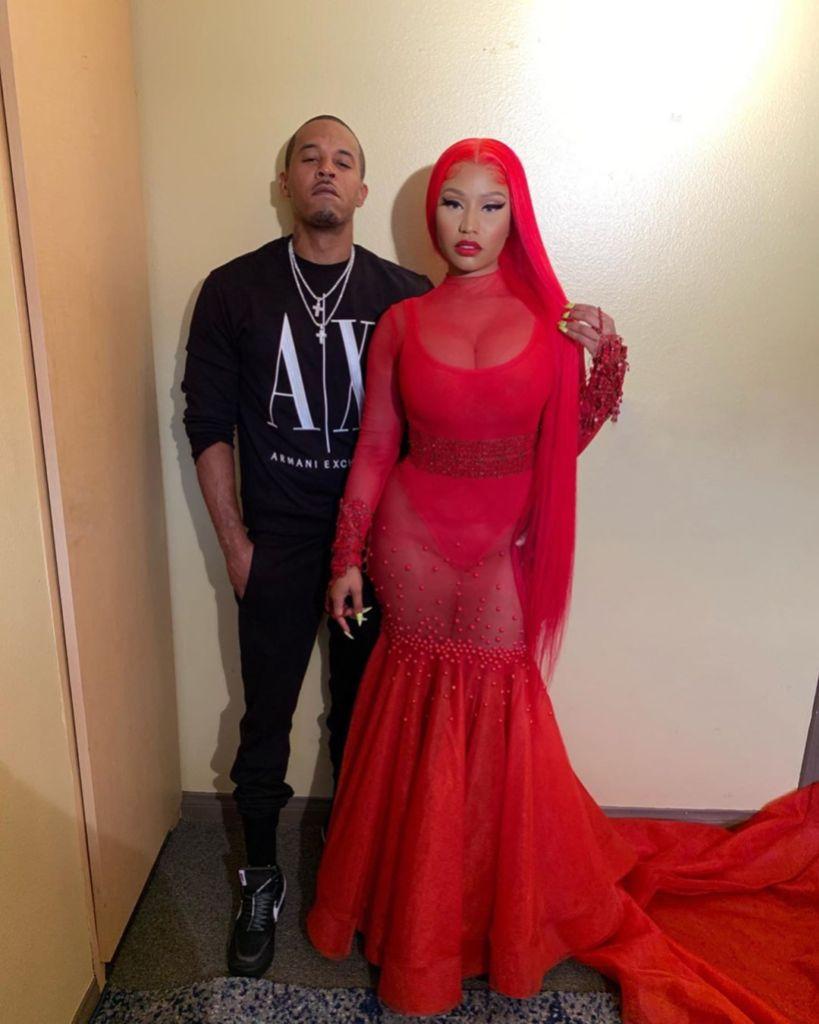 Nicki Minaj Wearing a Red Dress With Kenneth Petty