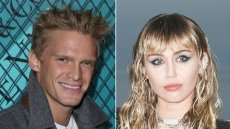 cody simpson wears a white shirt under a gray peacoat; miley cyrus wears a black top under a dark gray blazer; cody simpson opens up about girlfriend miley cyrus