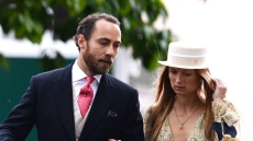 james middleton wears a suit jacket with tails over a white button down shirt, red printed tie, khaki vest and plaid pants and alizee thevenet wears a flowy long sleeved yellow and white printed dress and a white hat james middleton engaged to alizee thevenet