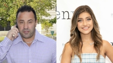 rhonj star joe giudice wears a white and lavendar button down checkered shirt with jeans while talking on a cell phone in 2014, rhonj star gia giucide wear a blue and white mini dress in may 2019 joe giudice facetimes daughter gia after ice release