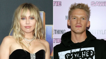 miley cyrus wears black dress with heart cut out at avengers endgame red carpet premiere in april 2019; cody simpson wears black graphic hoodie at PrettyLittleThing x Saweetie show NYFW september 2019 miley cyrus cody simpson kiss in pda photo
