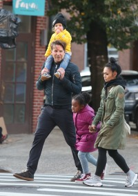 Bradley Cooper Carrying His Daughter Lea on the Streets of NYC With a Friend
