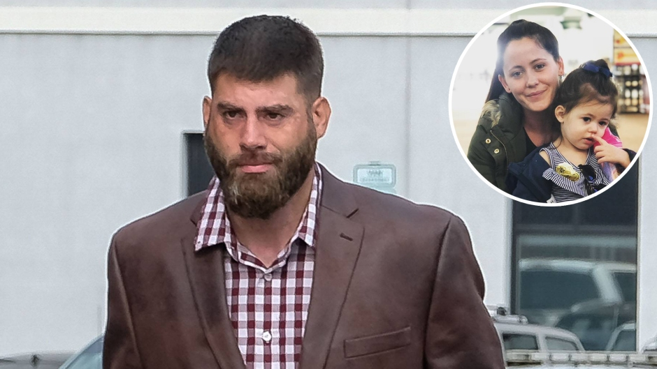 In-Set Photo of Jenelle Evans and Daughter Ensley Eason Over Photo of David Eason Walking Outside