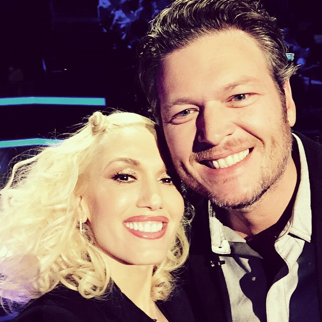 Gwen Stefani and Blake Shelton on the Set of The Voice