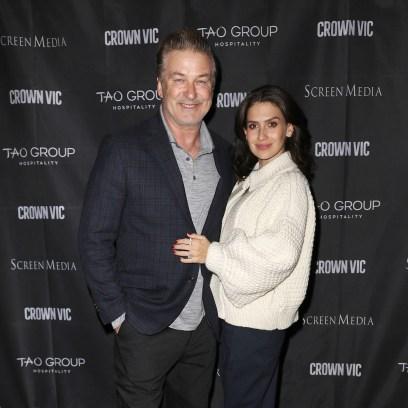 Alec Baldwin Wearing a Suit with Hilaria Baldwin in a White Coat
