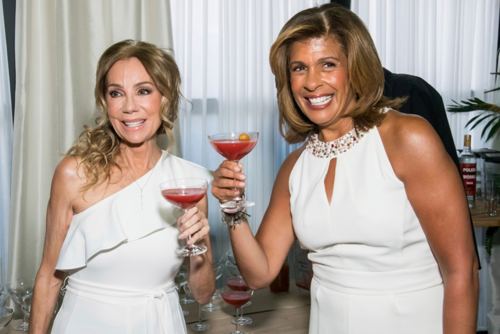 Kathie Lee Holding a Wine Glass With Hoda Kotb