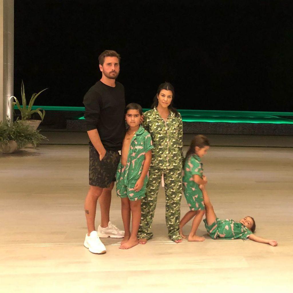 Kourtney Kardashian Wearing Pajamas With Scott Disick and Their Kids