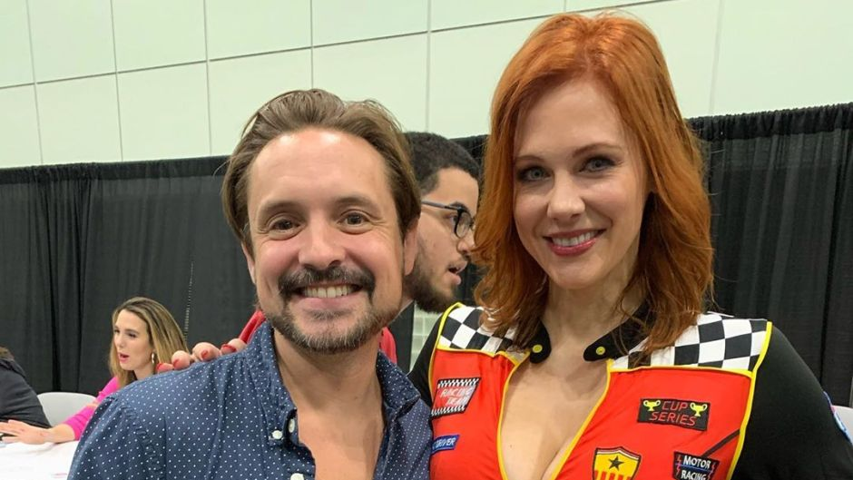 Maitland Ward Wearing a Race Car Outfit With Will Freidle