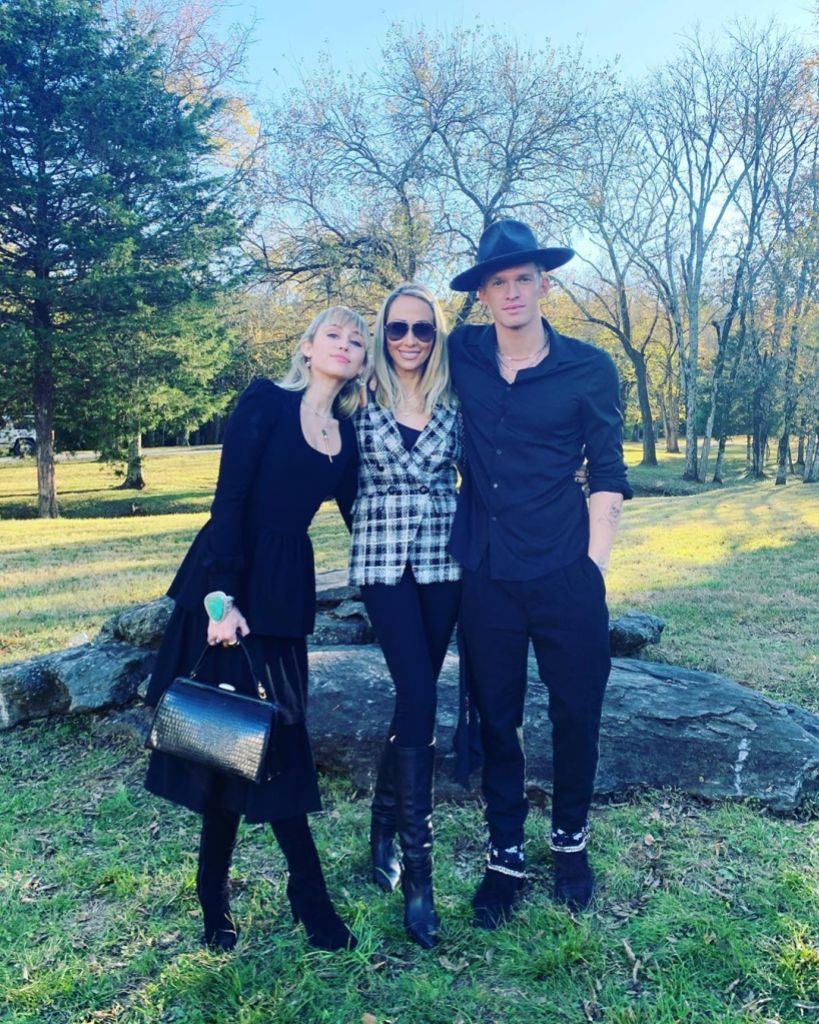 Miley Cyrus With Her Mom Tish and Cody Simpson Wearing Black at Her Brother's Wedding