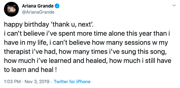 Ariana Grande Reflects on Love Life 1 Year After Thank U Next 4