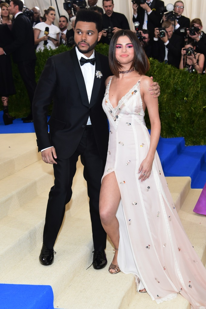 Selena Gomez Wearing a Pink Dress on the Red Carpet With The Weeknd