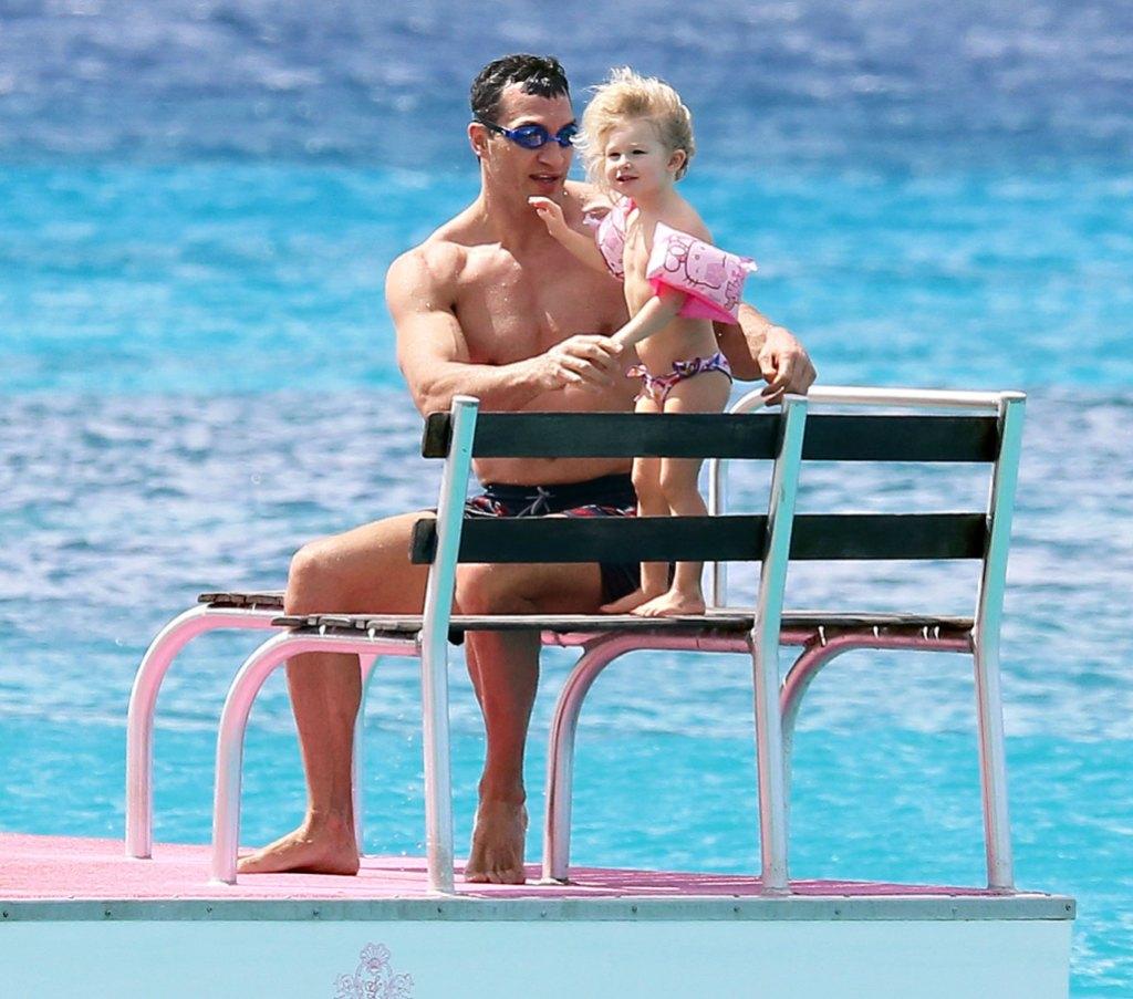 Wladimir Klitschko and Daughter Kaya in Barbados
