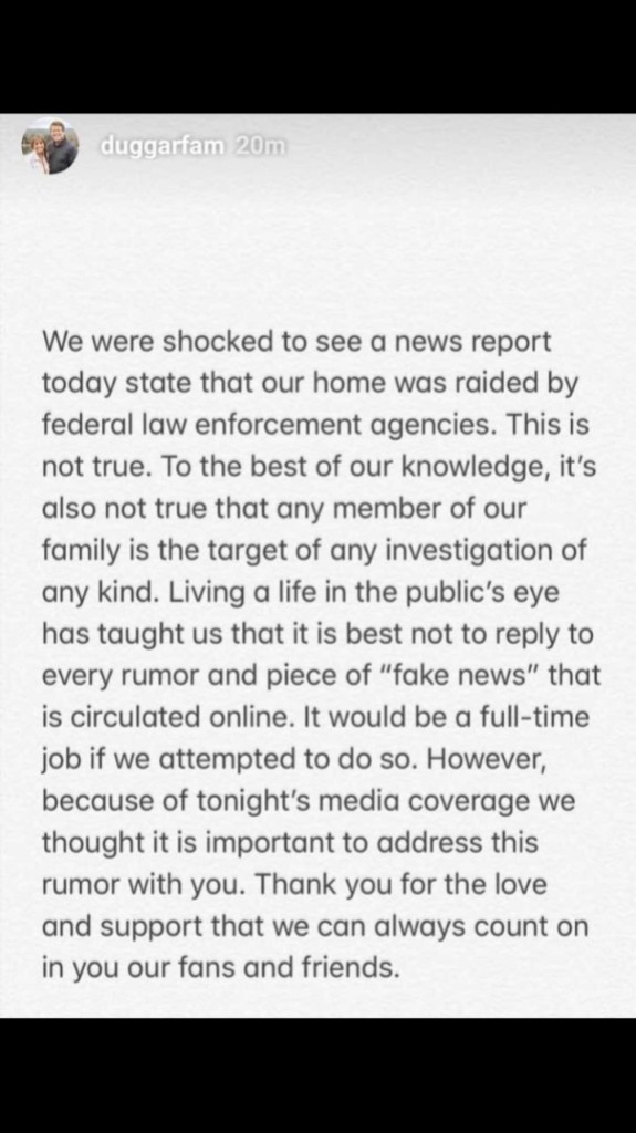 duggar family statement about HSI raid