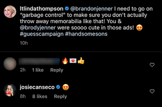 josie canseco leaves a flirty comment about her ex boyfriend brody jenner on his mom linda thompson's instagram