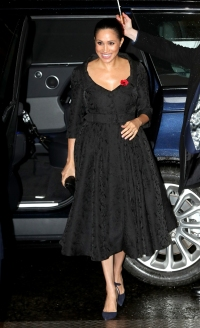meghan markle wore a black v-neck a-line tea length dress to the festival of remembrance 2019