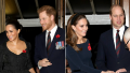 meghan markle, prince harry, kate middleton and prince william reunite at the festival of remembrance 2019